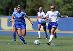 BROOKINGS, SD - SEPTEMBER 4:  Alexa Hepner #22 from South Dakota State pushes the ball past 	Caeley Lordemann #14 from Creighton during their match Sunday afternoon at Fischback Soccer Complex in Brookings. (Photo by Dave Eggen/Inertia)