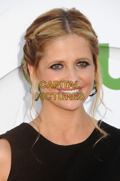 Sarah Michelle Gellar.CBS, CW and Showtime Summer 2011 TCA Party held at The Pagoda, Beverly Hills, California, USA..August 3rd, 2011.headshot portrait black silver hoop earrings .CAP/ADM/BP.©Byron Purvis/AdMedia/Capital Pictures.