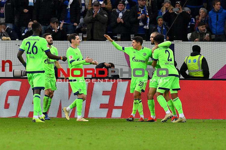 01.12.2018, wirsol Rhein-Neckar-Arena, Sinsheim, GER, 1 FBL, TSG 1899 Hoffenheim vs FC Schalke 04, <br /> <br /> DFL REGULATIONS PROHIBIT ANY USE OF PHOTOGRAPHS AS IMAGE SEQUENCES AND/OR QUASI-VIDEO.<br /> <br /> im Bild: Nabil Bentaleb (FC Schalke 04 #10) jubelt mit Salif Sane (FC Schalke 04 #26), Daniel Caligiuri (FC Schalke 04 #18), Sebastian Rudy (FC Schalke 04 #13), Alessandro Schöpf / Schoepf (FC Schalke 04 #28) und Weston McKennie (FC Schalke 04 #2) ueber sein Tor zum 1:1<br /> <br /> Foto © nordphoto / Fabisch