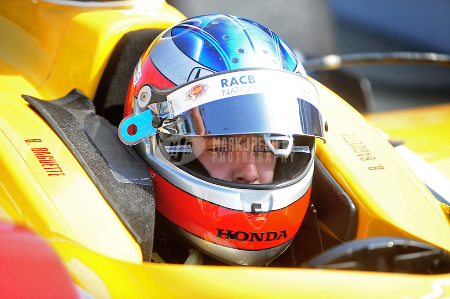 May 28, 2010; Indianapolis, IN, USA; IndyCar Series driver Bertrand Baguette during carb day prior to the Indianapolis 500 at the Indianapolis Motor Speedway. Mandatory Credit: Mark J. Rebilas-