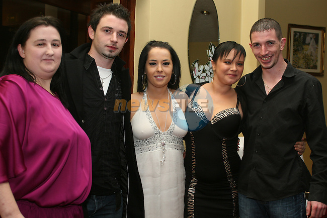 Danielle Hanley with Paul McGlue, Shelly Hanley, Richie Gallagher and Yhana Byrne at the Benefit night on behalf of Irish Autism Association...Photo NEWSFILE/Jenny Matthews.(Photo credit should read Jenny Matthews/NEWSFILE)....This Picture has been sent you under the condtions enclosed by:.Newsfile Ltd..The Studio,.Millmount Abbey,.Drogheda,.Co Meath..Ireland..Tel: +353(0)41-9871240.Fax: +353(0)41-9871260.GSM: +353(0)86-2500958.email: pictures@newsfile.ie.www.newsfile.ie.FTP: 193.120.102.198.