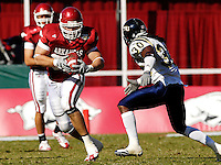 Florida International University Golden Panthers versus the University of Arkansas Razorbacks at Donald W. Reynolds Razorback Stadium, Fayetteville, Arkansas on Saturday, October 27, 2007.  The Razorbacks defeated the Golden Panthers, 58-10...Arkansas tight end Andrew Davie (82) takes a Nathan Emert pass for extra yards in the third quarter.