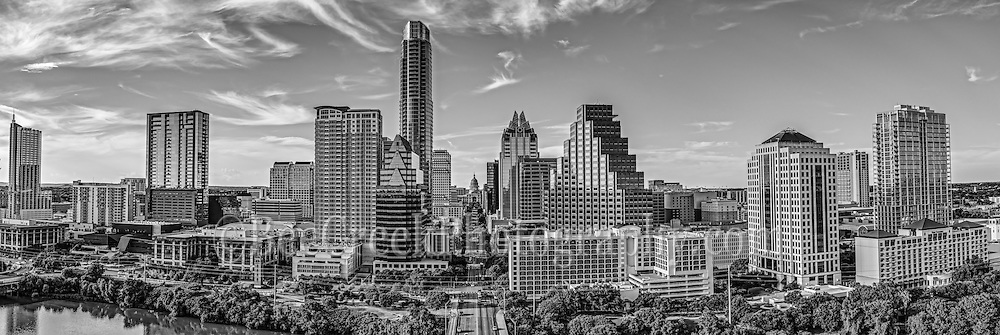 Black and White Austin Skyline -  We captured this black and white aerial panorama of the City of Austin skyline looking straight down Congress Ave. In this cityscape you can see the Texas Capital along with mamy of the city high-rise buildings including the Frost, Austonian, W Hotel, Austin 360 CondosOne Congress Plaza, Radisson Hotel, Marriott, Four Season Hotel, along with the Ashton Condos, and One Congress. Also in the photo are a bit of Lady Bird Lake.