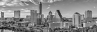 We captured this black and white aerial panorama of the City of Austin skyline looking straight down Congress Ave. In this cityscape you can see the Texas Capital along with mamy of the city high-rise buildings including the Frost, Austonian, W Hotel, Austin 360 CondosOne Congress Plaza, Radisson Hotel, Marriott, Four Season Hotel, along with the Ashton Condos, and One Congress. Also in the photo are a bit of Lady Bird Lake.