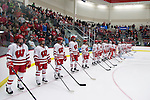 Wisconsin Badgers line up prior to the first round of the NCAA tournament against the Harvard Crimson Saturday, March 15, 2014 in Madison, Wis. The Badgers won 2-1 and advance to the Frozen Four. (Photo by David Stluka)