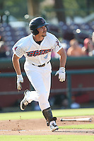 Mark Shannon #4 of the Inland Empire 66ers runs to first base during a game against the Rancho Cucamonga Quakes at San Manuel Stadium on August 10, 2014 in San Bernardino, California. Inland Empire defeated Rancho Cucamonga, 4-1. (Larry Goren/Four Seam Images)