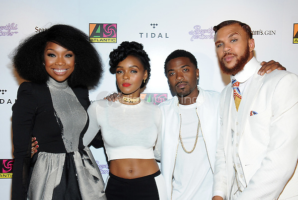 LOS ANGELES, CA - JUNE 28: Brandy, Janelle Monae, Ray J, and Jidenna attend the Atlantic Records BET Awards After-Party at Hyde Kitchen on Sunday, June 28, 2015 in Los Angeles, California. Credit: PGTW/MediaPunch