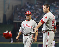 Phillies coach Davey Lopes and 2B Chase Utley on Friday May 23rd at Minute Maid Park in Houston, Texas. Photo by Andrew Woolley / Four Seam Images...
