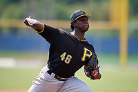 Pittsburgh Pirates relief pitcher Deivy Mendez (46) delivers a pitch during a Florida Instructional League game against the Toronto Blue Jays on September 20, 2018 at the Englebert Complex in Dunedin, Florida.  (Mike Janes/Four Seam Images)