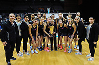 The Silver Ferns celebrate winning the Taini Jamieson Trophy Series against England Roses at Claudelands Arena in Hamilton, New Zealand on Wednesday, 13 September 2017. Photo: Dave Lintott / lintottphoto.co.nz