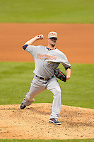 Minnesota Twins pitcher Josh Roenicke #20 during a game against the Milwaukee Brewers at Miller Park on May 27, 2013 in Milwaukee, Wisconsin.  Minnesota defeated Milwaukee 6-3.  (Mike Janes/Four Seam Images)