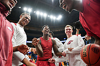 NWA Democrat-Gazette/CHARLIE KAIJO Arkansas Razorbacks players laugh during the Southeastern Conference Men's Basketball Tournament semifinals, Saturday, March 10, 2018 at Scottrade Center in St. Louis, Mo. The Tennessee Volunteers knocked off the Arkansas Razorbacks 84-66