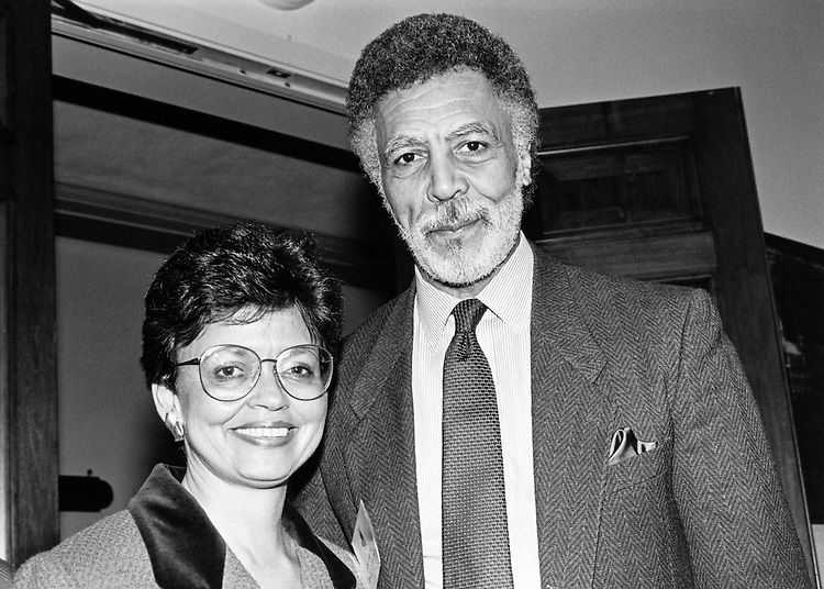 "Congress Representative for mayor of DC"" Diyon and Rep. Ron Dellums. February 4, 1991. (Photo by Laura Patterson/CQ Roll Call)"