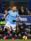 6th February 2019, Goodison Park, Liverpool, England; EPL Premier League Football, Everton versus Manchester City; Nicolas Otamendi of Manchester City controls the ball