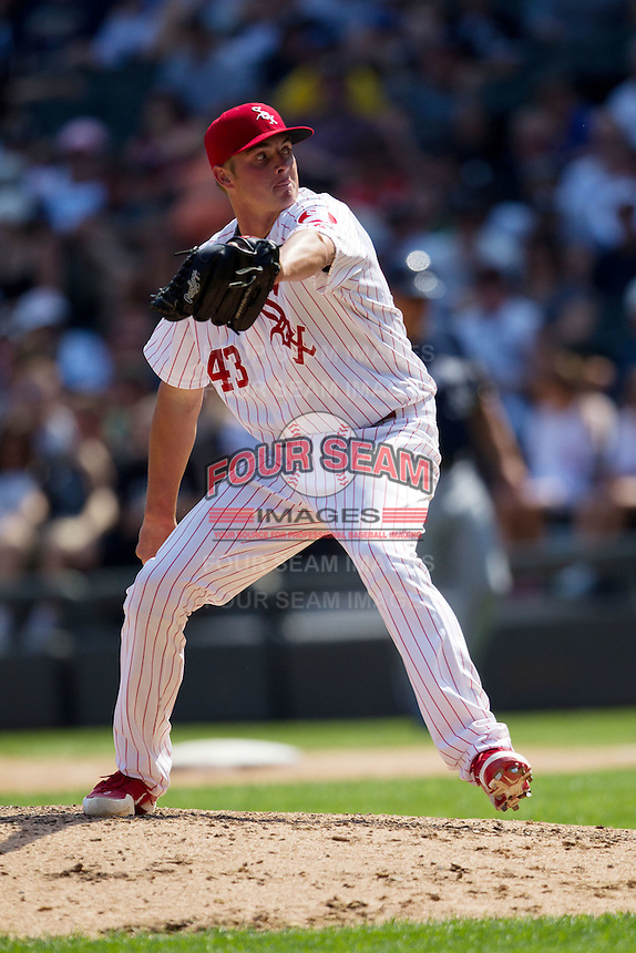 Chicago White Sox Pitcher Addison Reed #43 delivers during the Major League Baseball game against the Milwaukee Brewers on June 24, 2012 at US Cellular Field in Chicago, Illinois. The White Sox defeated the Brewers 1-0 in 10 innings. (Andrew Woolley/Four Seam Images)..