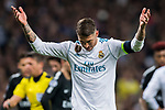 Sergio Ramos of Real Madrid reacts during the UEFA Champions League 2017-18 Round of 16 (1st leg) match between Real Madrid vs Paris Saint Germain at Estadio Santiago Bernabeu on February 14 2018 in Madrid, Spain. Photo by Diego Souto / Power Sport Images