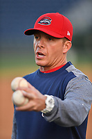 Manager Darren Fenster (3) of the Greenville Drive at the team's first workout of the season on Tuesday, April 4, 2017, at Fluor Field at the West End in Greenville, South Carolina. (Tom Priddy/Four Seam Images)