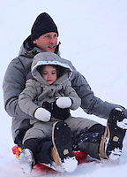 John Elkann & family  in  Saint-Moritz - Switzerland - Exclusive