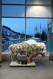 USA, Utah, Park City, a bison sculpture at the Utah Olympic Park