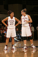 19 January 2006: Rosalyn Gold-Onwude and Krista Rappahahn during Stanford's win over the University of California Golden Bears at Maples Pavilion in Stanford, CA.