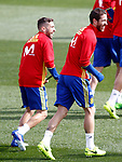 Spain's Jordi Alba and Sergio Ramos during training session. March 21,2017.(ALTERPHOTOS/Acero)