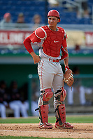 Williamsport Crosscutters catcher Herbert Iser (8) during a NY-Penn League game against the Batavia Muckdogs on August 27, 2019 at Dwyer Stadium in Batavia, New York.  Williamsport defeated Batavia 11-4.  (Mike Janes/Four Seam Images)