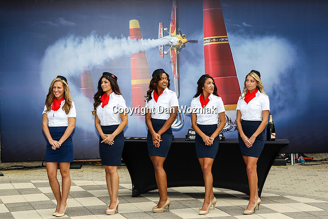 The Red Bull Air Race girls get ready for award ceremonies after the Red Bull Air Race at the Texas Motor Speedway in Fort Worth, Texas.