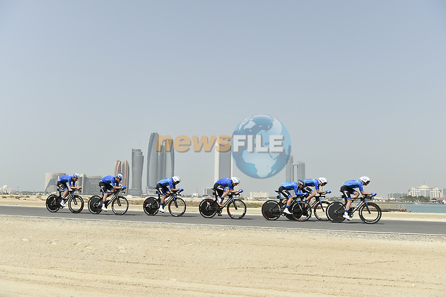 Gazprom-Rusvelo motor along during Stage 1 of the 2019 UAE Tour, a team time trial running 16km around Al Hudayriat Island, Abu Dhabi, United Arab Emirates. 24th February 2019.<br /> Picture: LaPresse/Fabio Ferrari | Cyclefile<br /> <br /> <br /> All photos usage must carry mandatory copyright credit (© Cyclefile | LaPresse/Fabio Ferrari)