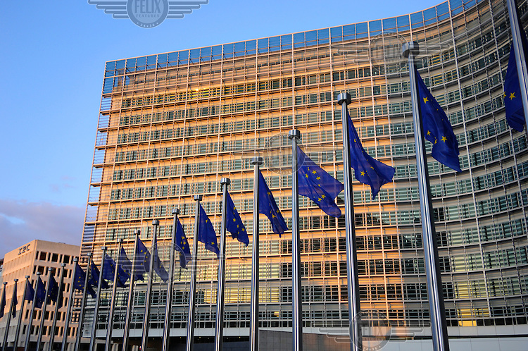 European flags in front of the Headquarters of the European Commission, the Berlaymont building, reopened in 2004 after 13 years of renovations. The Commission is the executive branch of the European Union (EU).