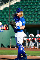 Garrett Hope (44) of the Ogden Raptors during the game against the Orem Owlz in Pioneer League action at Lindquist Field on June 22, 2017 in Ogden, Utah. The Owlz defeated the Raptors 13-8.  (Stephen Smith/Four Seam Images)