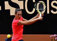 BOGOTA - COLOMBIA – 15 – 04 - 2017: Francesca Schiavone de Italia, devuelve la bola a Lara Arruabarrena de España, durante partido por el Claro Colsanitas WTA, que se realiza en el Club Los Lagartos de la ciudad de Bogota. / Francesca Schiavonne from Italy, returns the ball to Lara Arruabarrena from Spain, during a match for the WTA Claro Colsanitas, which takes place at Los Lagartos Club in Bogota city. Photo: VizzorImage / Luis Ramirez / Staff.