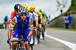 The peloton with Gianluca Brambilla (ITA) Quick-Step Floors on the front in action during Stage 11 of the 104th edition of the Tour de France 2017, running 203.5km from Eymet to Pau, France. 12th July 2017.<br /> Picture: ASO/Pauline Ballet | Cyclefile<br /> <br /> <br /> All photos usage must carry mandatory copyright credit (&copy; Cyclefile | ASO/Pauline Ballet)