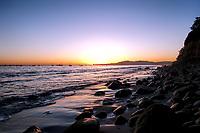 Agorgeous sunset one January day on Butterfly Beach, Santa Barbara, California.