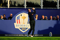 Jim Furyk (USA) on the 1st tee during the Saturday Fourball Matches of the Ryder Cup at Gleneagles Golf Club on Saturday 27th September 2014.<br /> Picture:  Thos Caffrey / www.golffile.ie