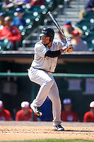 Louisville Bats shortstop Hernan Iribarren (2) at bat during a game against the Buffalo Bisons on May 2, 2015 at Coca-Cola Field in Buffalo, New York.  Louisville defeated Buffalo 5-2.  (Mike Janes/Four Seam Images)