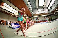 Lisa Ingildeeva of Germany begins wave to fans during event finals award ceremonies at Schmiden Tournament on March 11, 2007 at Schmiden, Germany.