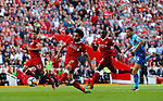 Liverpool's Mohamed Salah scores his teams third goal during the premier league match at Anfield Stadium, Liverpool. Picture date 27th August 2017. Picture credit should read: Paul Thomas/Sportimage