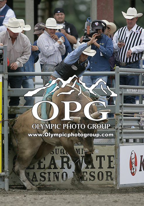 29 Aug 2010: Travis Atkinson was not able to score during the first round of the Seminole Hard Rock Extreme Bulls competition at the Kitsap County Stampede in Bremerton, Washington.