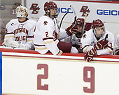 Ian Milosz (BC - 29), Scott Savage (BC - 2), Casey Fitzgerald (BC - 5), Luke McInnis (BC - 3) - The visiting University of Vermont Catamounts tied the Boston College Eagles 2-2 on Saturday, February 18, 2017, Boston College's senior night at Kelley Rink in Conte Forum in Chestnut Hill, Massachusetts.Vermont and BC tied 2-2 on Saturday, February 18, 2017, Boston College's senior night at Kelley Rink in Conte Forum in Chestnut Hill, Massachusetts.