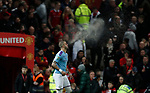 Kyle Walker of Manchester City spurts water into the air as he makes his way onto the pitch for the second half during the Carabao Cup match at Old Trafford, Manchester. Picture date: 7th January 2020. Picture credit should read: Darren Staples/Sportimage