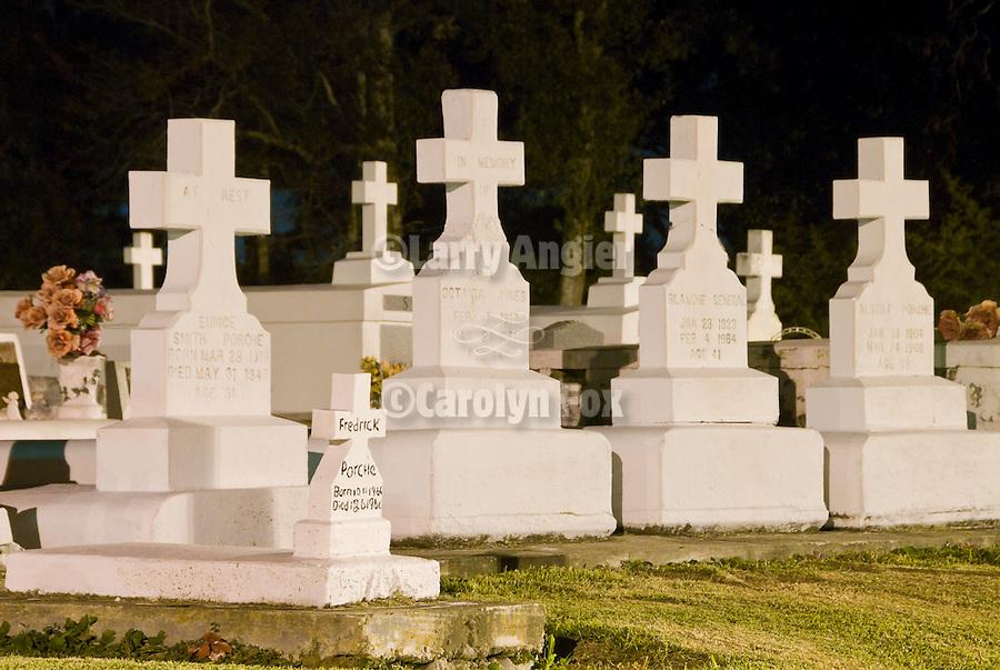 Bisland Cemetery at night along the Bayou Terrebonne, Louisiana.