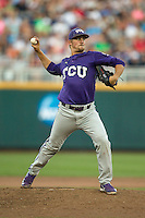 TCU Horned Frogs pitcher Brian Trieglaff (21) makes a pickoff throw to first base against the Vanderbilt Commodores in Game 12 of the NCAA College World Series on June 19, 2015 at TD Ameritrade Park in Omaha, Nebraska. The Commodores defeated TCU 7-1. (Andrew Woolley/Four Seam Images)
