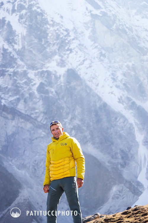 A portrait of the Swiss alpinist Ueli Steck while in the Nepal Himalaya