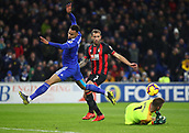 2nd February 2019, Cardiff City Stadium, Cardiff, Wales; EPL Premier League football, Cardiff City versus AFC Bournemouth; Artur Boruc of Bournemouth gets to the ball ahead of Josh Murphy of Cardiff City