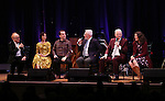 Peter Asher, Carmen Cusack, Rob Berman, Walter Bobbie, Steve Martin and Edie Brickell  on stage during 'Bright Star' In Concert at Town Hall on December 12, 2016 in New York City.