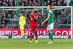 01.12.2018, Weserstadion, Bremen, GER, 1.FBL, Werder Bremen vs FC Bayern Muenchen<br /> <br /> DFL REGULATIONS PROHIBIT ANY USE OF PHOTOGRAPHS AS IMAGE SEQUENCES AND/OR QUASI-VIDEO.<br /> <br /> im Bild / picture shows<br /> Jubel 0:1, Torsch&uuml;tze Serge Gnabry (FC Bayern Muenchen #22) bejubelt seinen Treffer / Tor zum 0:1, Ludwig Augustinsson (Werder Bremen #05), <br /> <br /> Foto &copy; nordphoto / Ewert