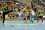 GER - Mannheim, Germany, September 23: During the DKB Handball Bundesliga match between Rhein-Neckar Loewen (yellow) and TVB 1898 Stuttgart (white) on September 23, 2015 at SAP Arena in Mannheim, Germany. Final score 31-20 (19-8) .  Sebastian Arnold #16 of TVB 1898 Stuttgart, Mads Mensah Larsen #22 of Rhein-Neckar Loewen<br /> <br /> Foto &copy; PIX-Sportfotos *** Foto ist honorarpflichtig! *** Auf Anfrage in hoeherer Qualitaet/Aufloesung. Belegexemplar erbeten. Veroeffentlichung ausschliesslich fuer journalistisch-publizistische Zwecke. For editorial use only.