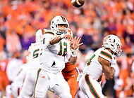 Charlotte, NC - DEC 2, 2017: Miami Hurricanes quarterback Malik Rosier (12) throws the football down field during ACC Championship game between Miami and Clemson at Bank of America Stadium Charlotte, North Carolina. (Photo by Phil Peters/Media Images International)