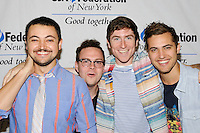 "NEW YORK - JULY 12: (L to R) Musicians Sean Waugaman, Eli Maiman, Nicholas Petricca, Kevin Ray of the band ""Walk the Moon"" attend the UJA-Federation Music Visionary of the Year Award Luncheon at the Pierre Hotel on July 12, 2012 in New York City. (Photo by MPI81/MediaPunchInc) /*NORTEPHOTO*<br />