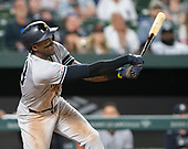New York Yankees left fielder Cameron Maybin (38) strikes-out swinging in the seventh inning against the Baltimore Orioles at Oriole Park at Camden Yards in Baltimore, MD on Tuesday, May 21, 2019.   The Yankees won the game 11 - 4.<br /> Credit: Ron Sachs / CNP<br /> (RESTRICTION: NO New York or New Jersey Newspapers or newspapers within a 75 mile radius of New York City)